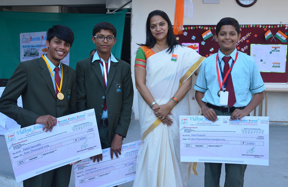 happy students with awards