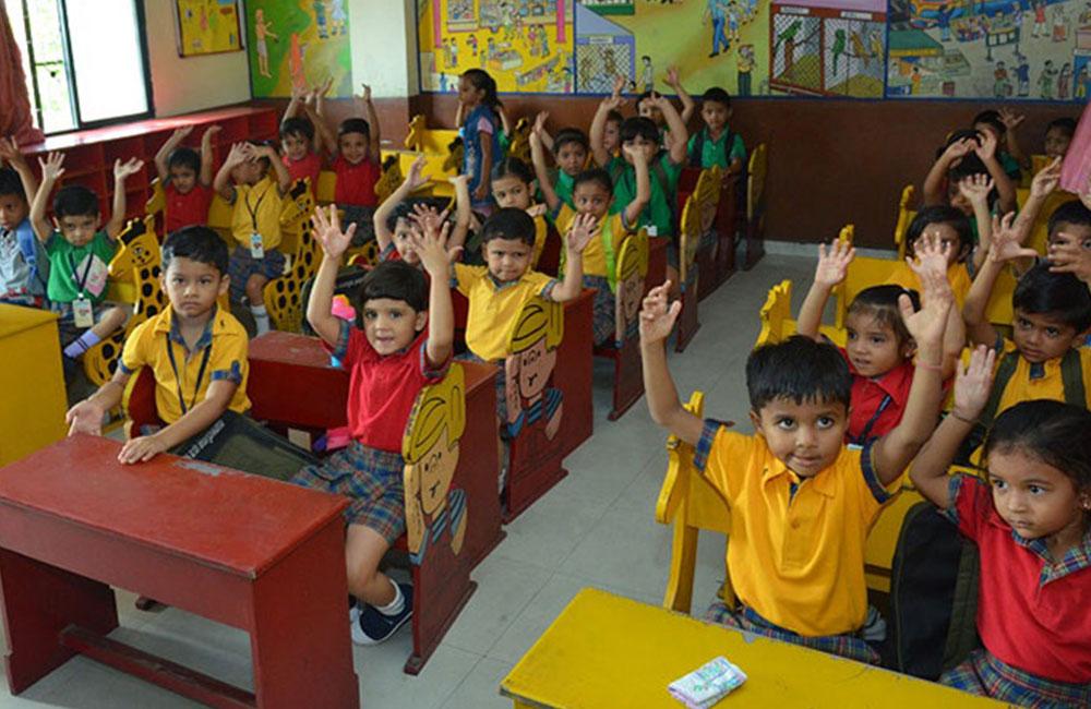 kids cheering in baroda public school