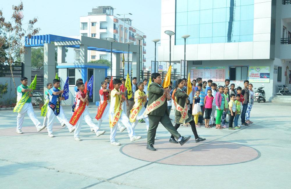 student parade in baroda public school