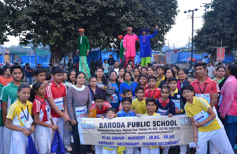 students in marathon vadodara bps school